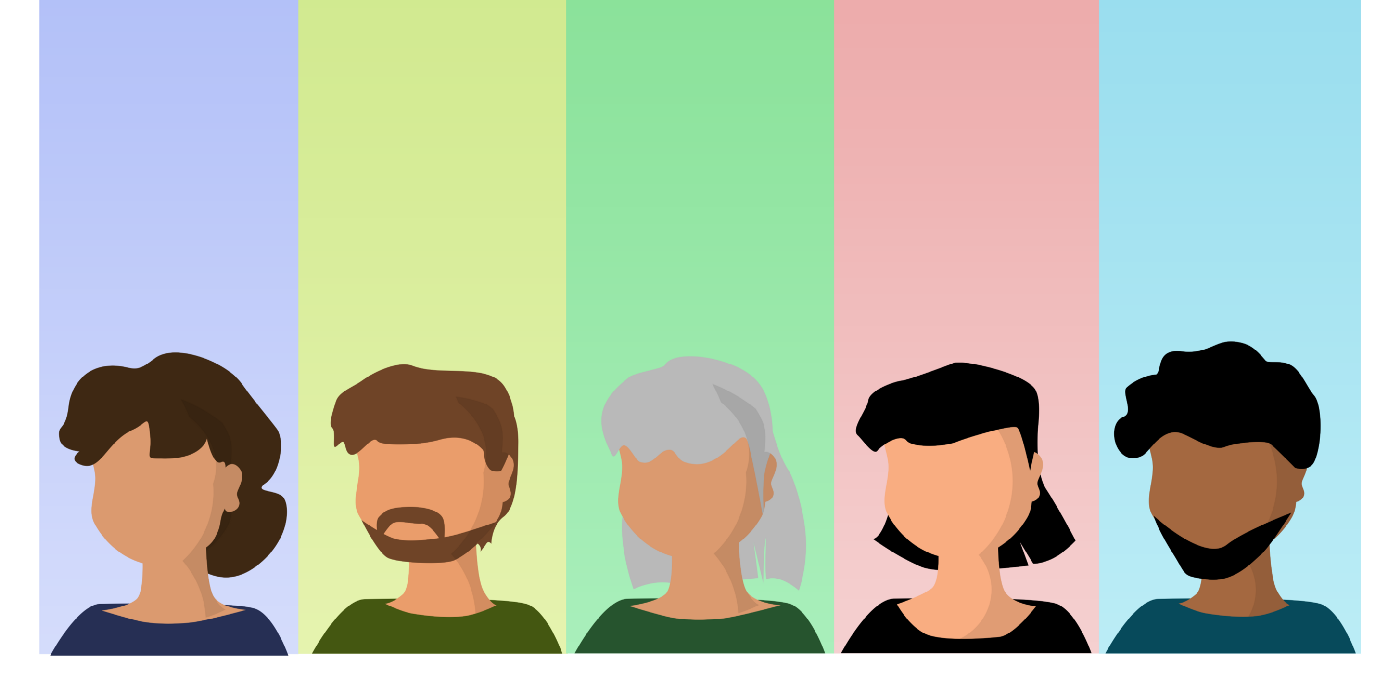 five people of different ages, genders, and ethnicities