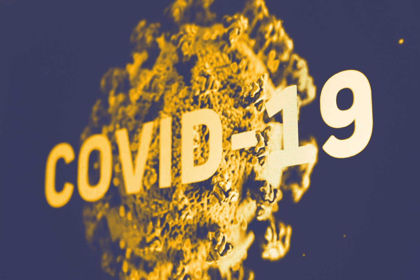 "Pictures with text said ""Covid-19"" with the virus which looks like a ball as the background"