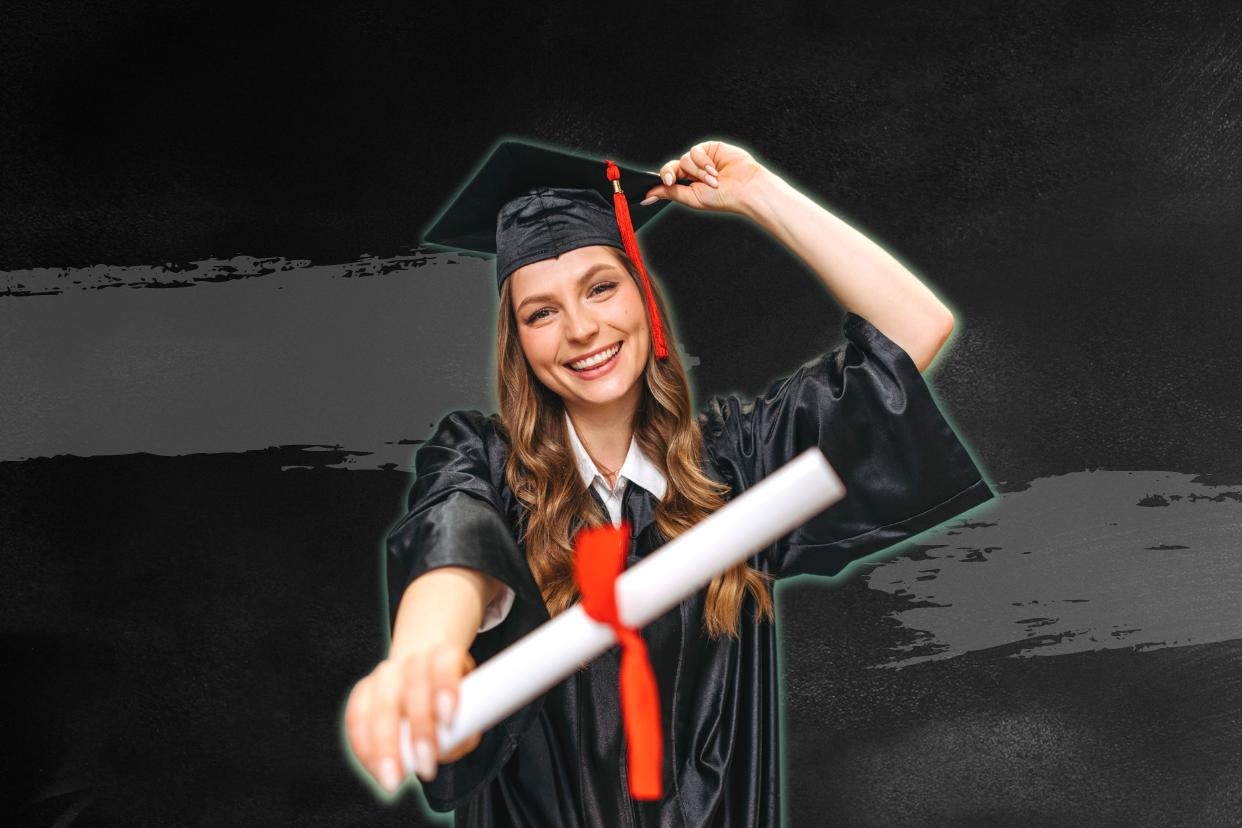 Young woman wearing graduation uniform and holding her college degree.