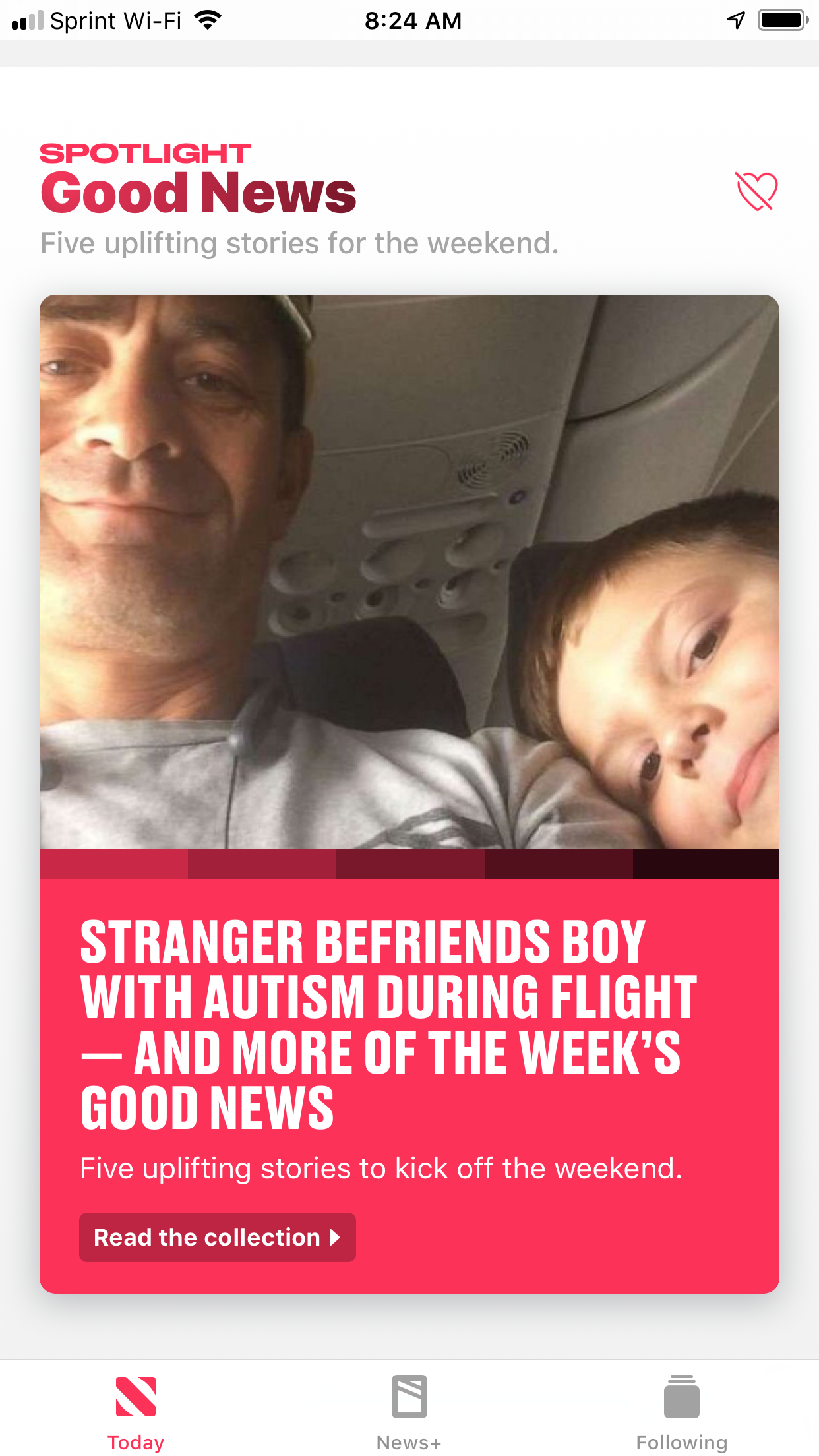 "Screen shot of a ""Feel Good"" Story headline — ""Stranger befriends boy with autism during flight — and more of the week's good news"""