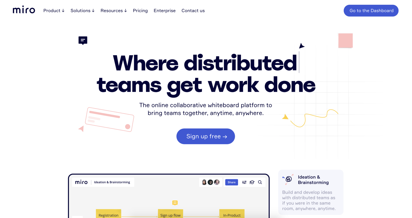 """A screenshot of Miro's website with the tagline """"Where distributed teams get work done"""""""