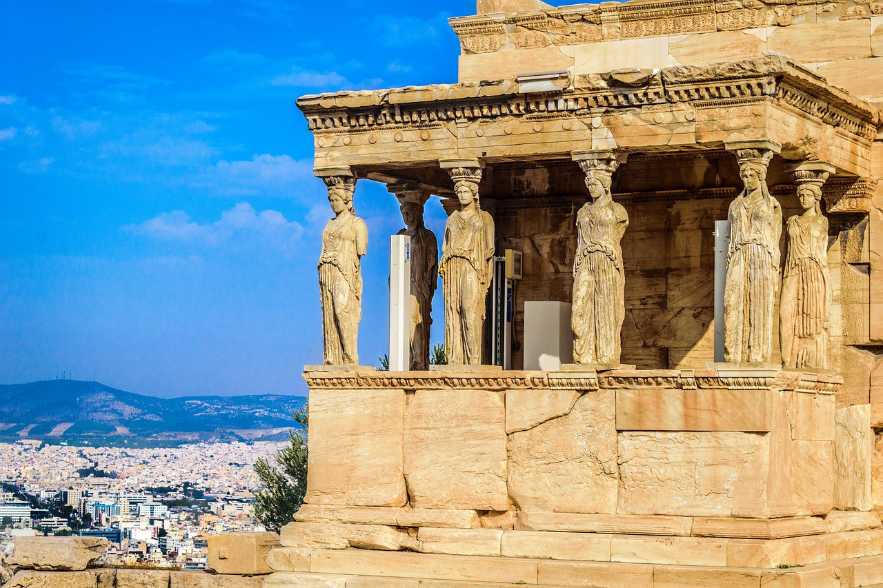 Zeno's theory of the illusion of movement depicted by the Caryatids of Erechteion in Athens, Greece
