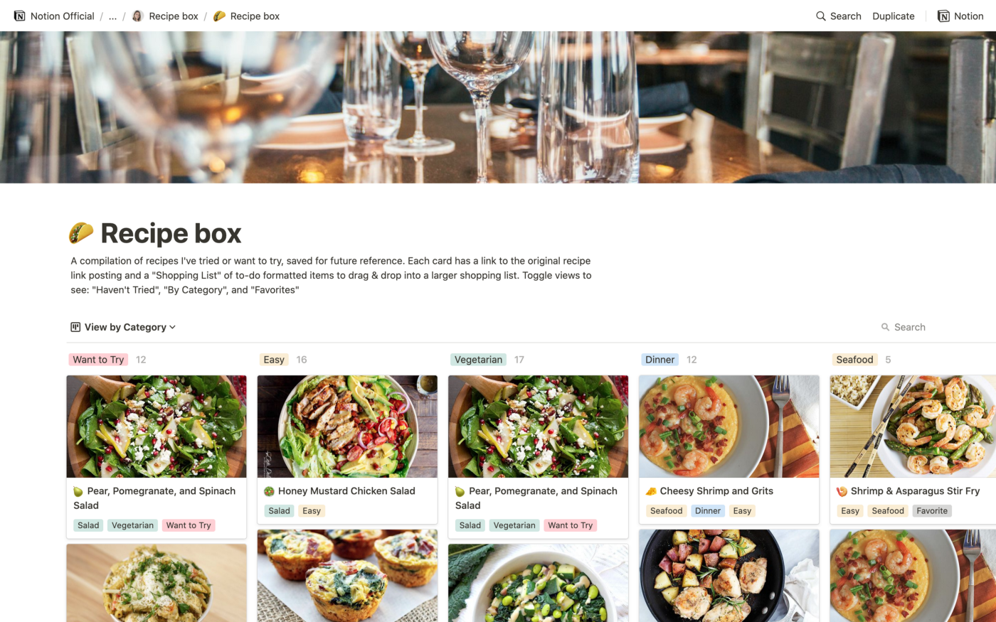 Recipe box page showing a cover image of a dinning table, and a 5 columns board with recipes in thumbnails.