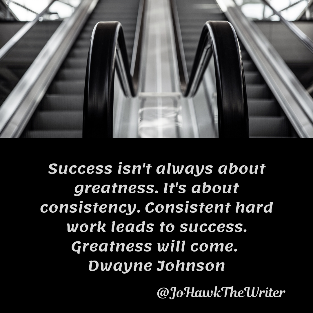 Success isn't always about greatness. It's about consistency. Consistent hard work leads to success. Greatness will come. Dwa
