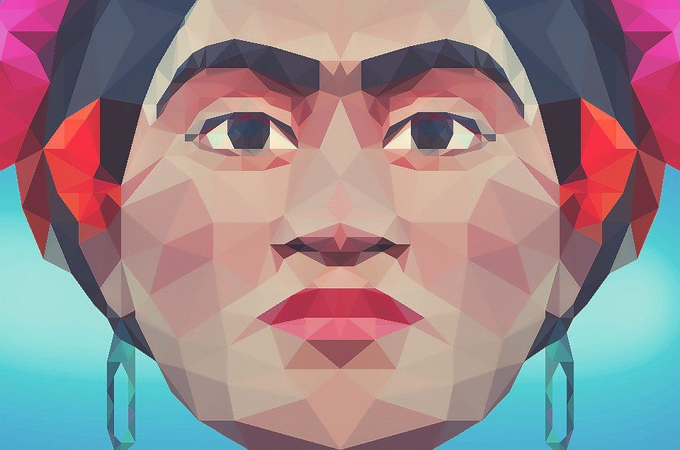 A vector image of Frida Kahlo, modeled in polygons