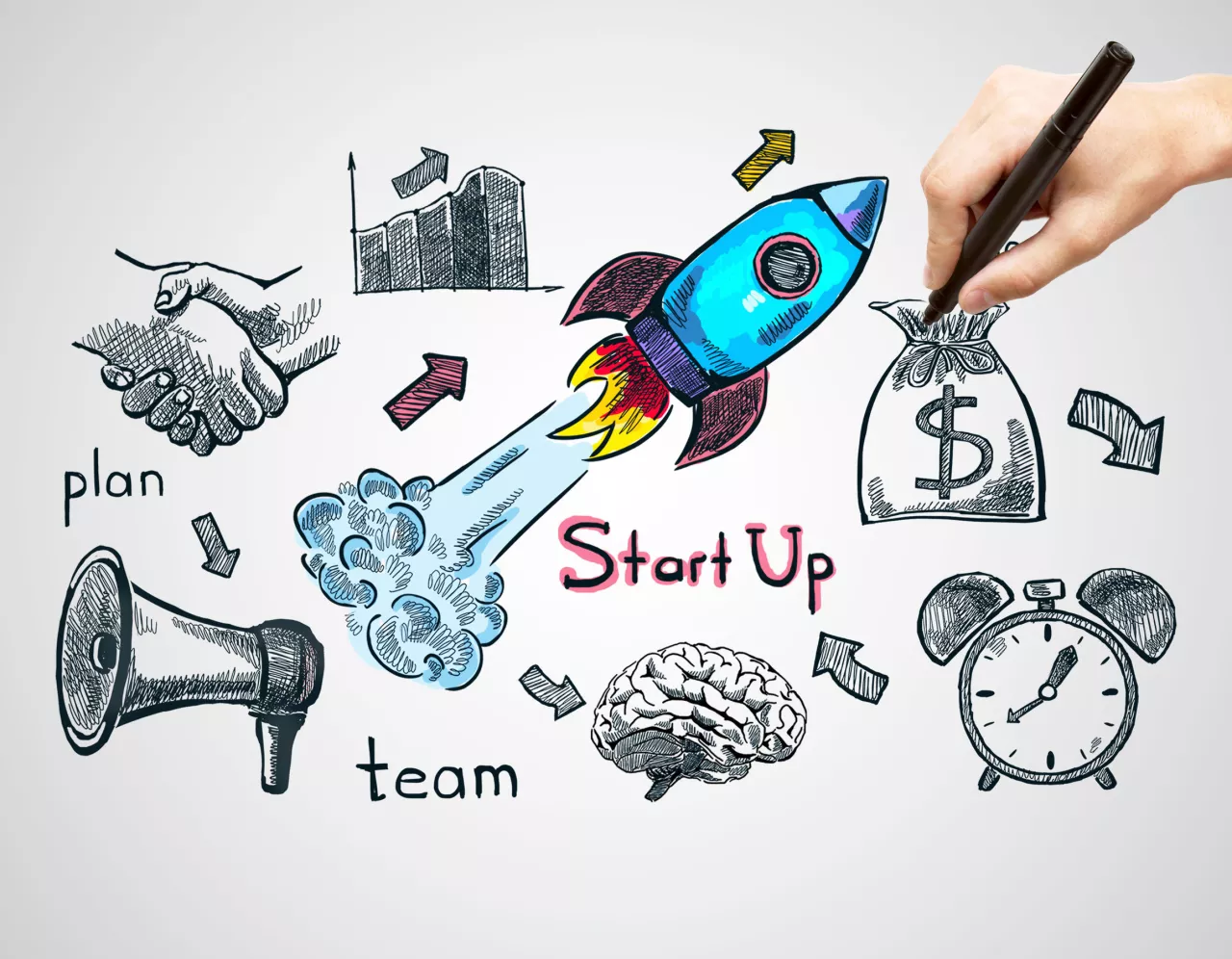 Hand-drawn illustration of a blue rocket surrounded by a bag of dollars, a business chart, a handshake, a brain, a megaphone and the words 'Start Up'.