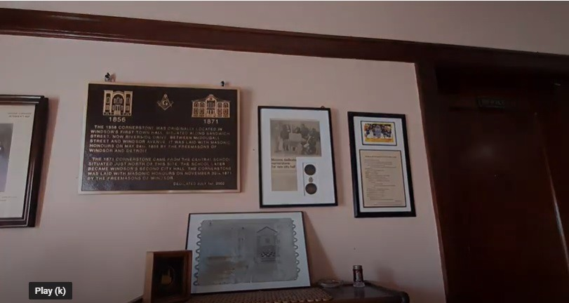 Picture of Masonic Cornerstone Display at Windsor Masonic Temple, Poem on Right
