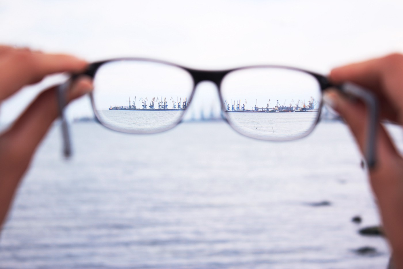 using eyeglasses to focus on far away objects