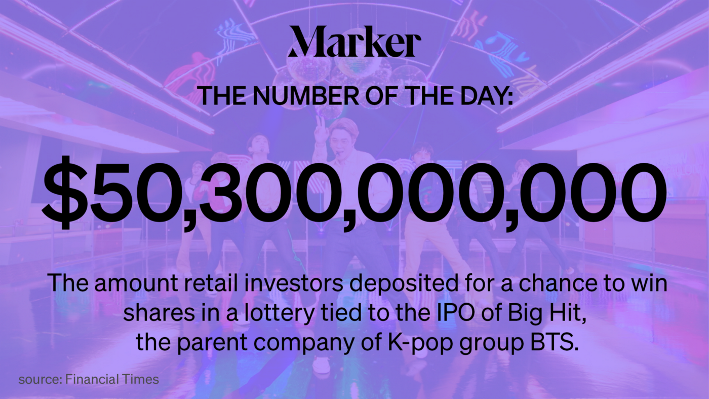 $50.3 billion — The amount retail investors deposited for a chance to win shares in a lottery tied to the IPO of Big Hit.