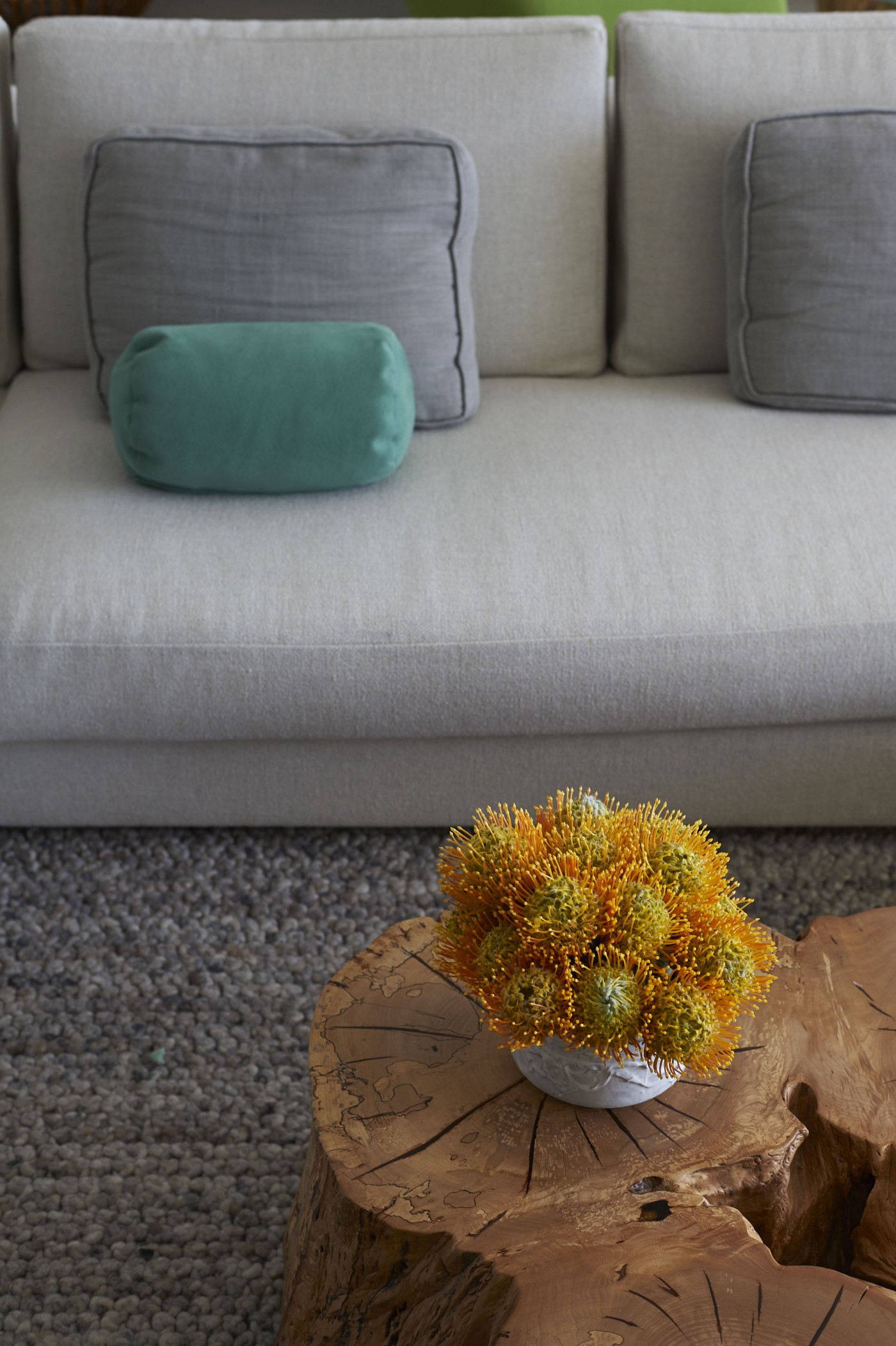 A grey sofa with teal pillows sitting on a grey rug.