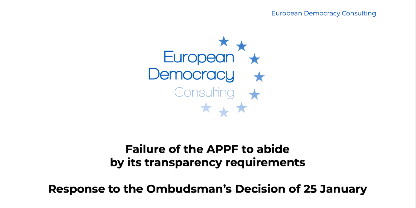 European Democracy Consulting responds to the Ombudsman's decision regarding European political parties