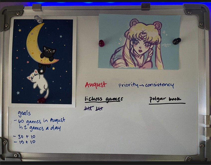 Whiteboard with tracking for chess games.