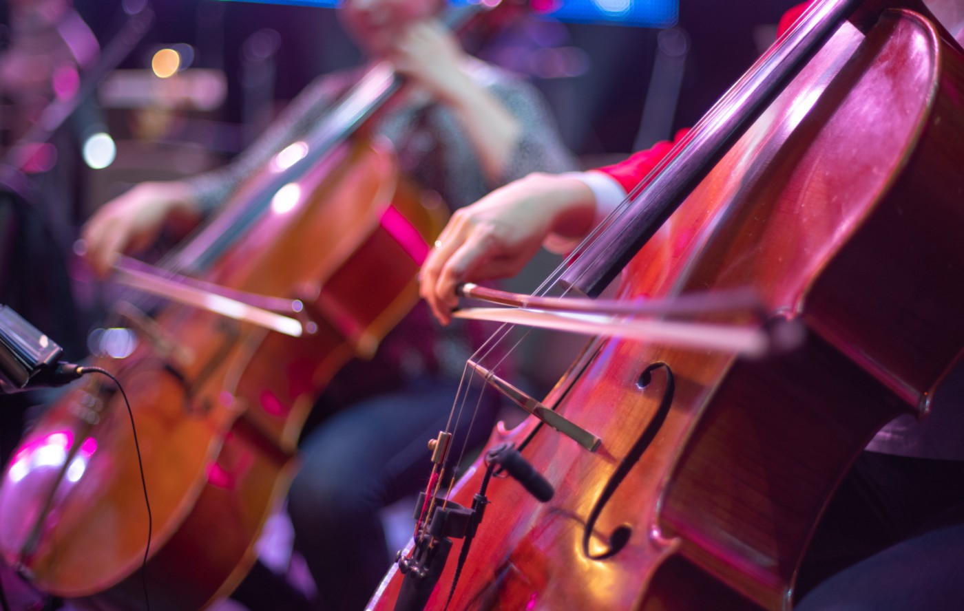 Performers play the cello at a concert.