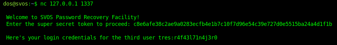 """Accessing the netcat service to get the credential for user """"tres""""."""