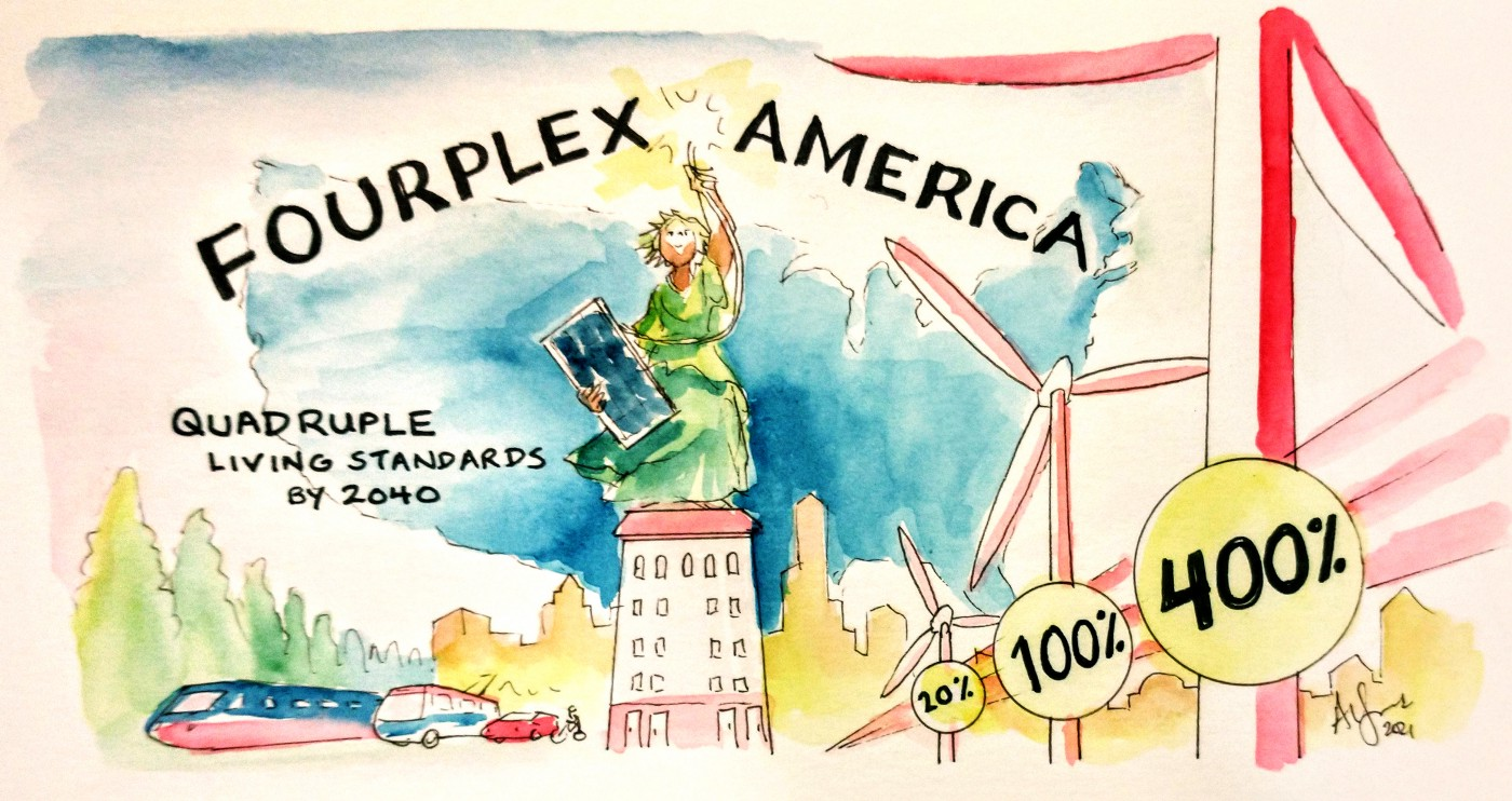 A person stands in a Statue of Liberty style position holding a solar panel and a wire sparking electricity, standing on an apartment building. Below are trains, buses, cars, bikes, and windmills of increasing size, labeled 20%, 100%, 400%. Title text: Fourplex America—Quadruple Living Standards by 2040