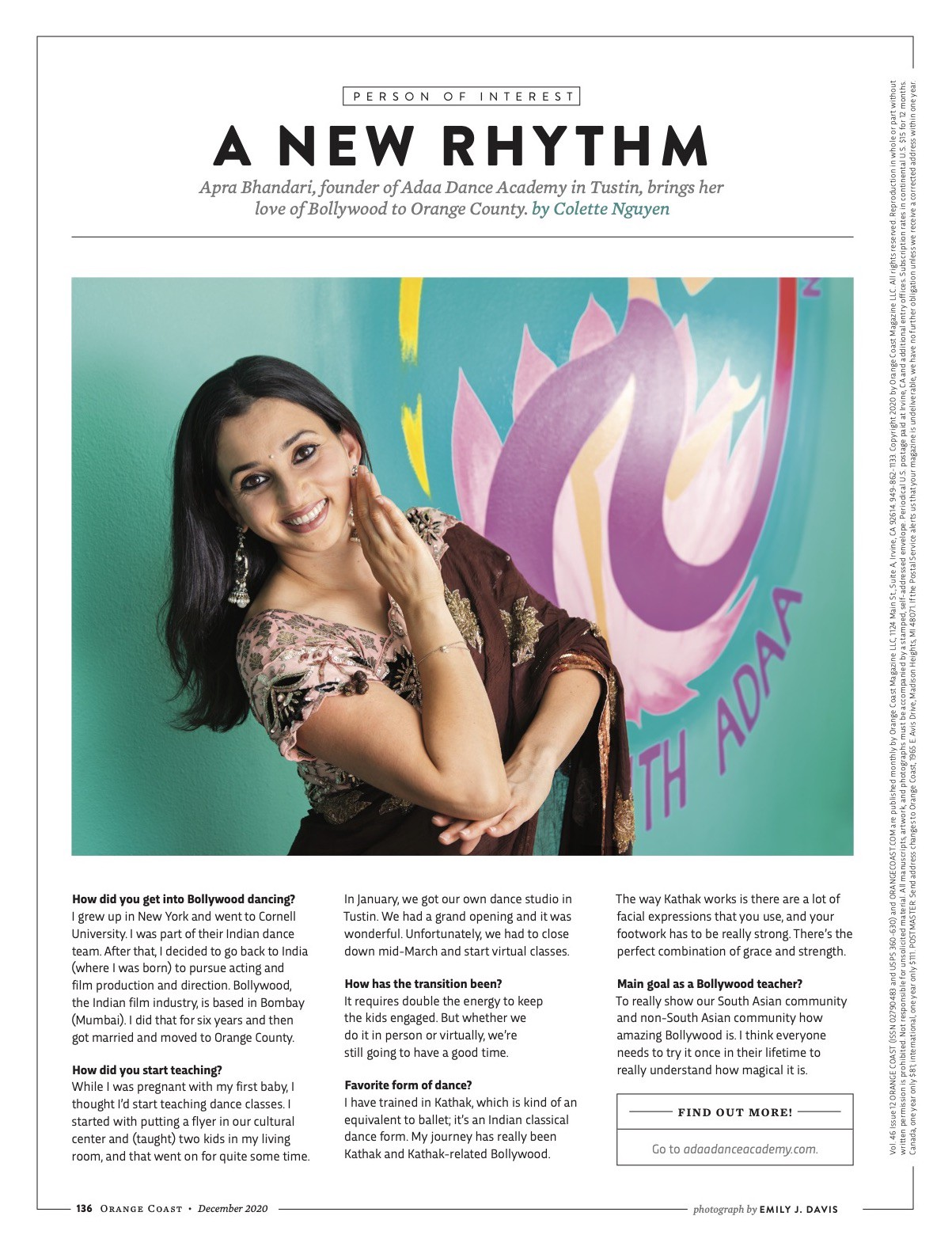 """A page from a magazine story called """"A New Rhythm"""" featuring a photo of a woman dancing in the middle"""
