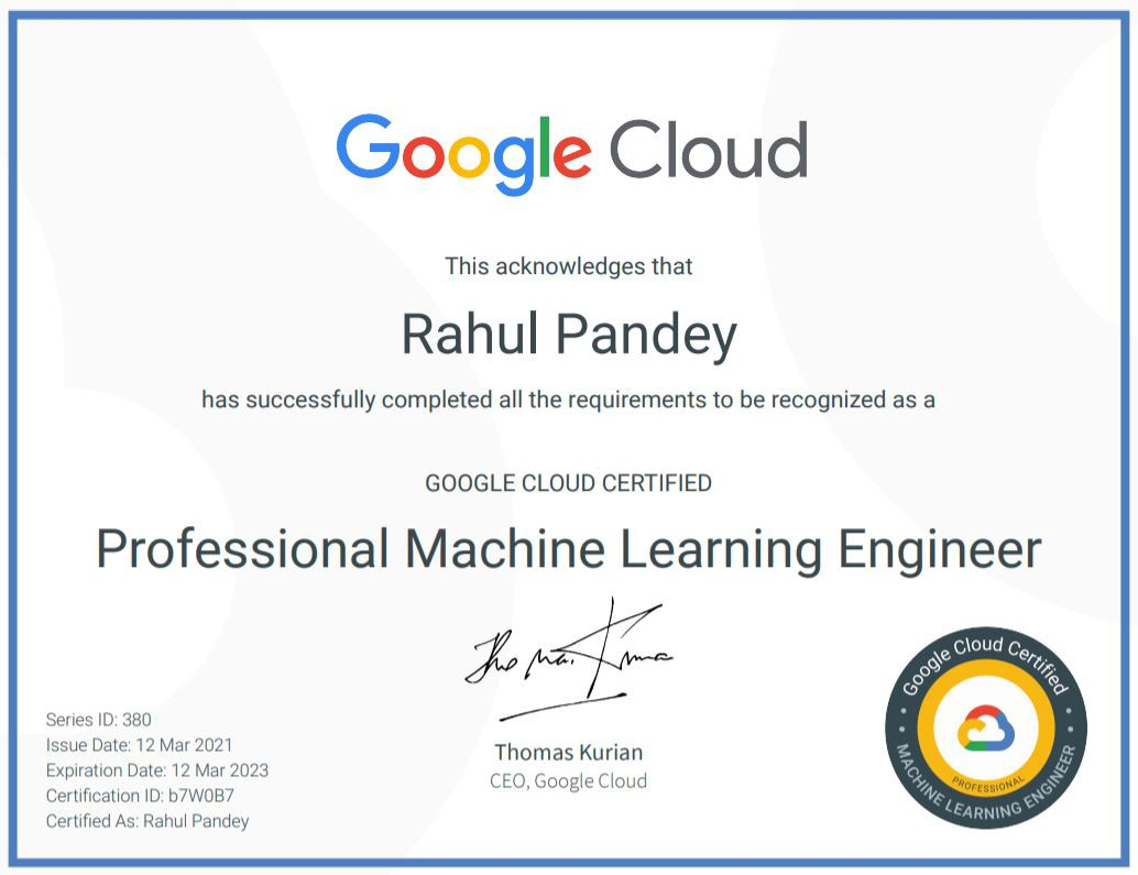 Google cloud professional machine learning engineer certificate