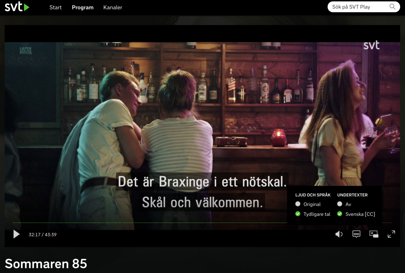 Videoplayer on svtplay.se with a tooltip showing the new function Tydligare tal (Clear Speech in English)