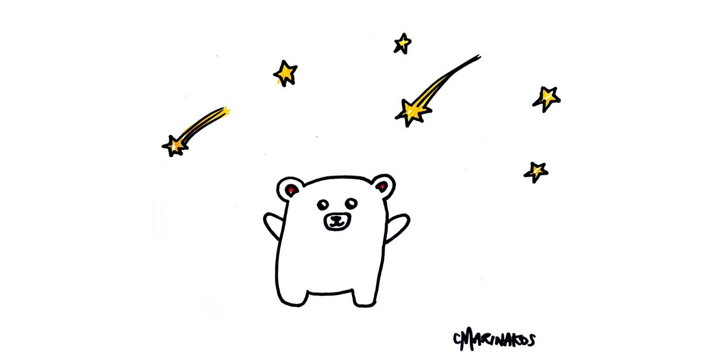 Illustration of a bear with falling stars around him.