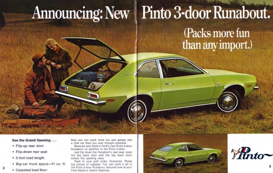 Period Ford Pinto ad showcasing its appealing qualities.