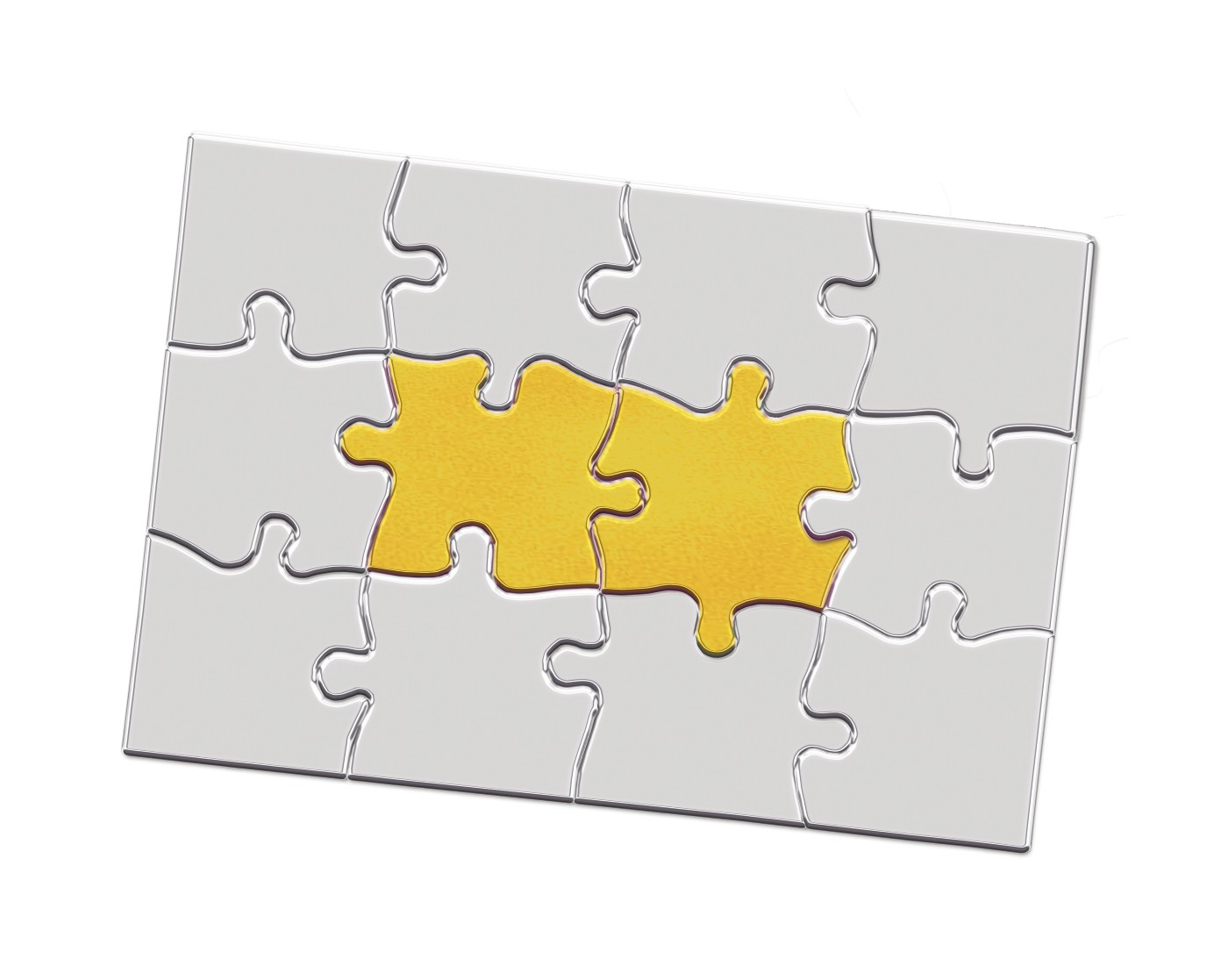 Metal jigsaw puzzle with interlocking pieces