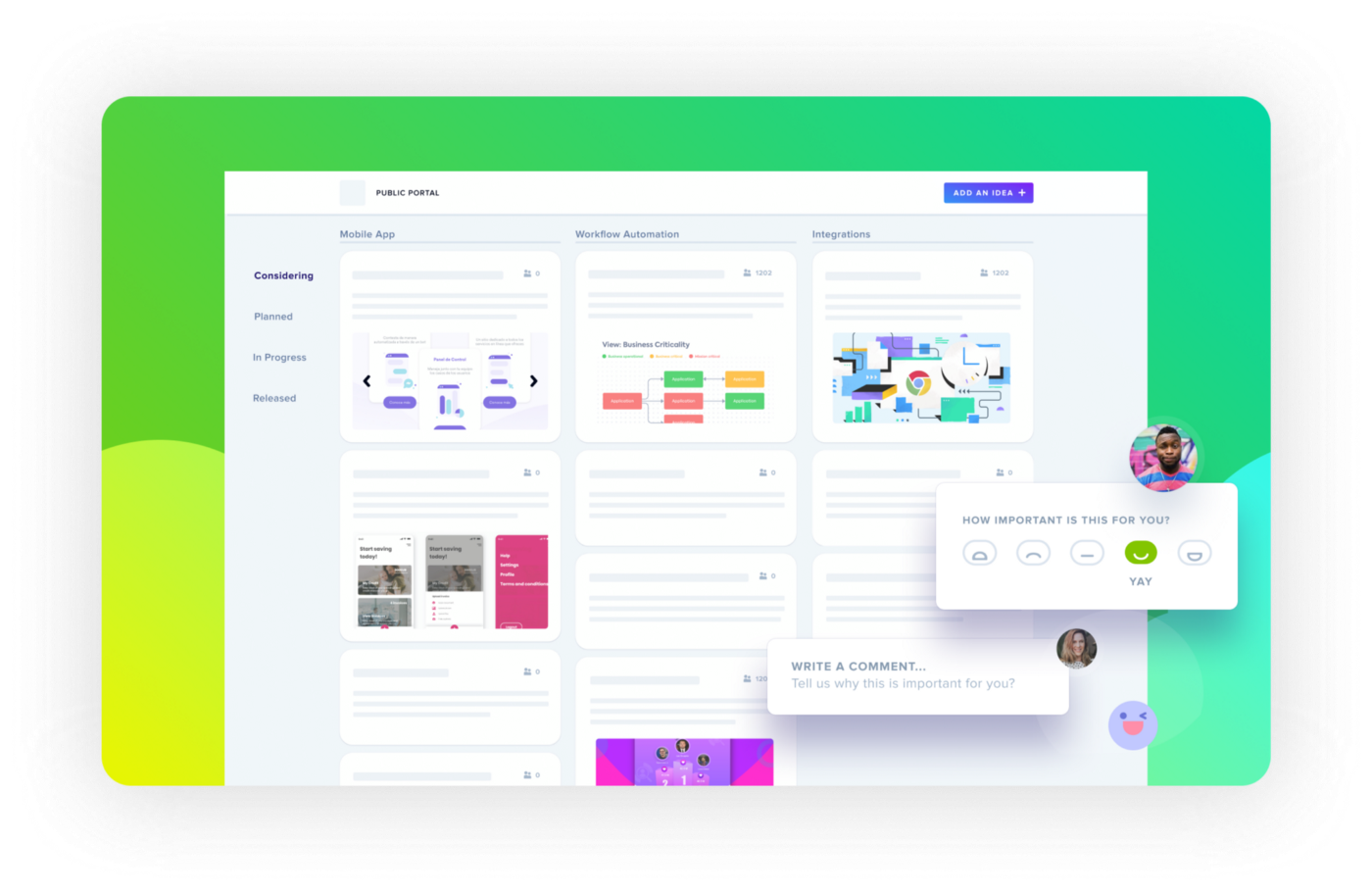 Gather new feature ideas from your stakeholders and users