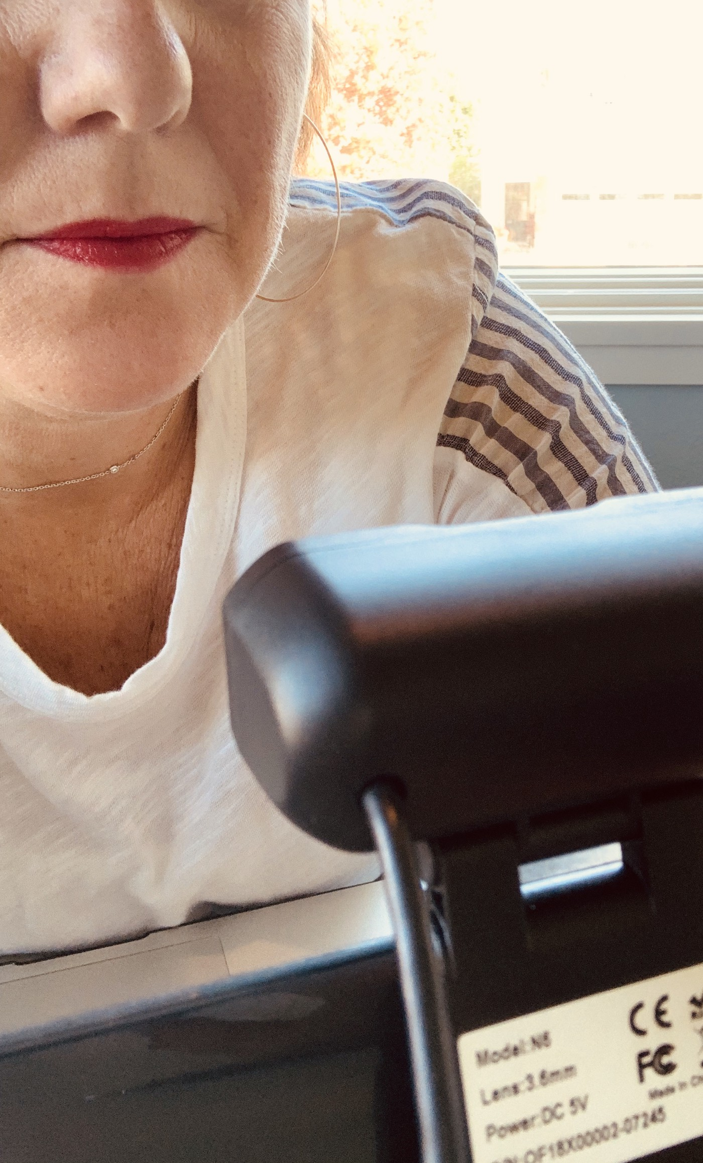 Partial picture of woman's face with red lips looking at a lap top with a camera.
