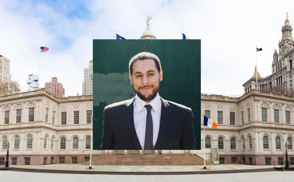 headshot of marte with a photo of NYC's city hall in the background.