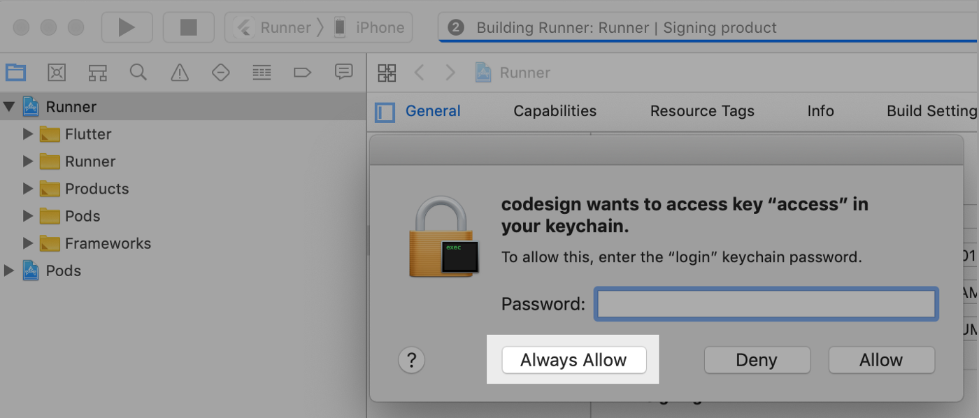 mac codesign wants to access key access in your keychain