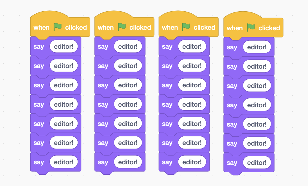 "A Scratch program that, when clicked, redundantly updates a character's speech bubble to say ""editor!"" 28 times."