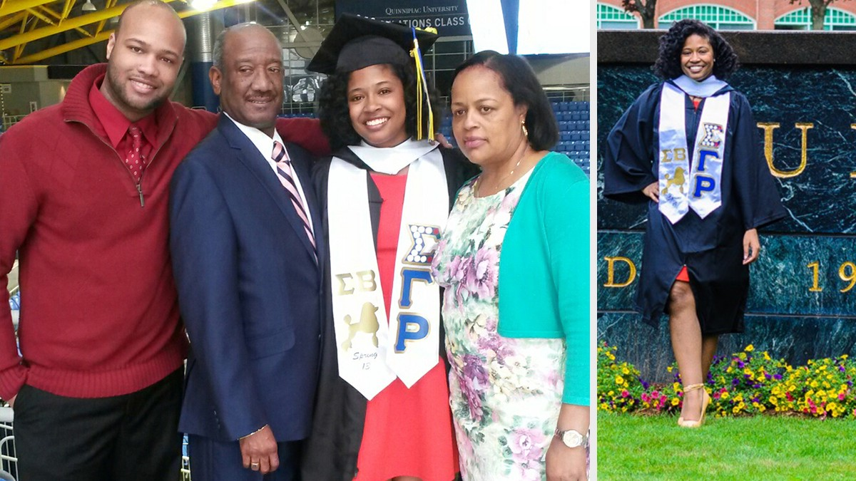 Left photo features Melissa with her family after college graduation ceremony and right photo is taken on university campus lawn. Photos courtesy of Melissa Barosy.