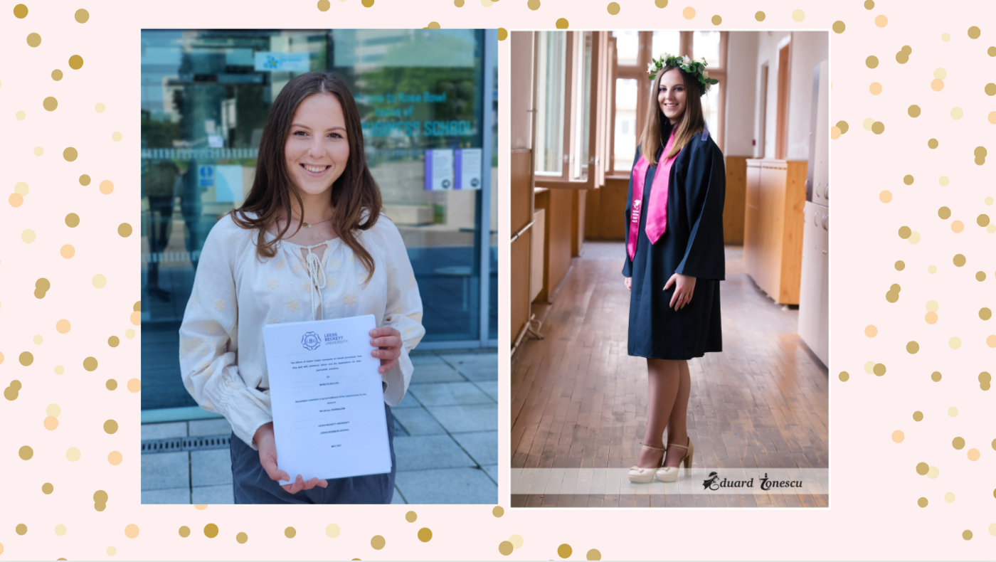 Female student in white blouse holding dissertation in front of glass building on the right and the same student in graduation gown on the left.