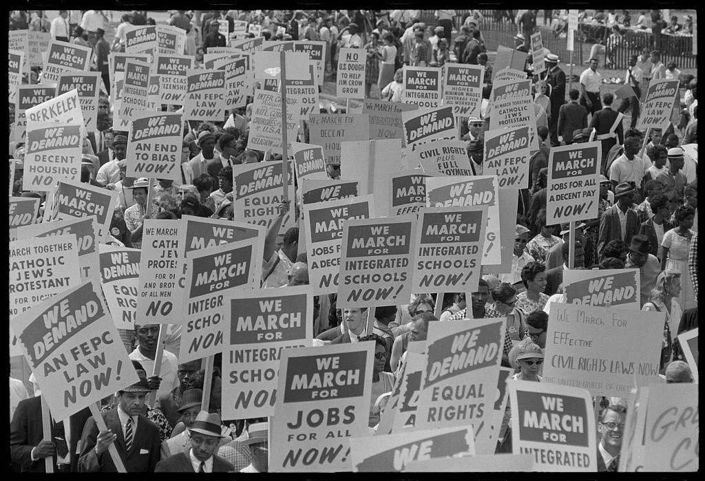 Marion S. Trikosko, photographer. Signs carried by marchers, during the March on Washington, 1963, US News & World Report.