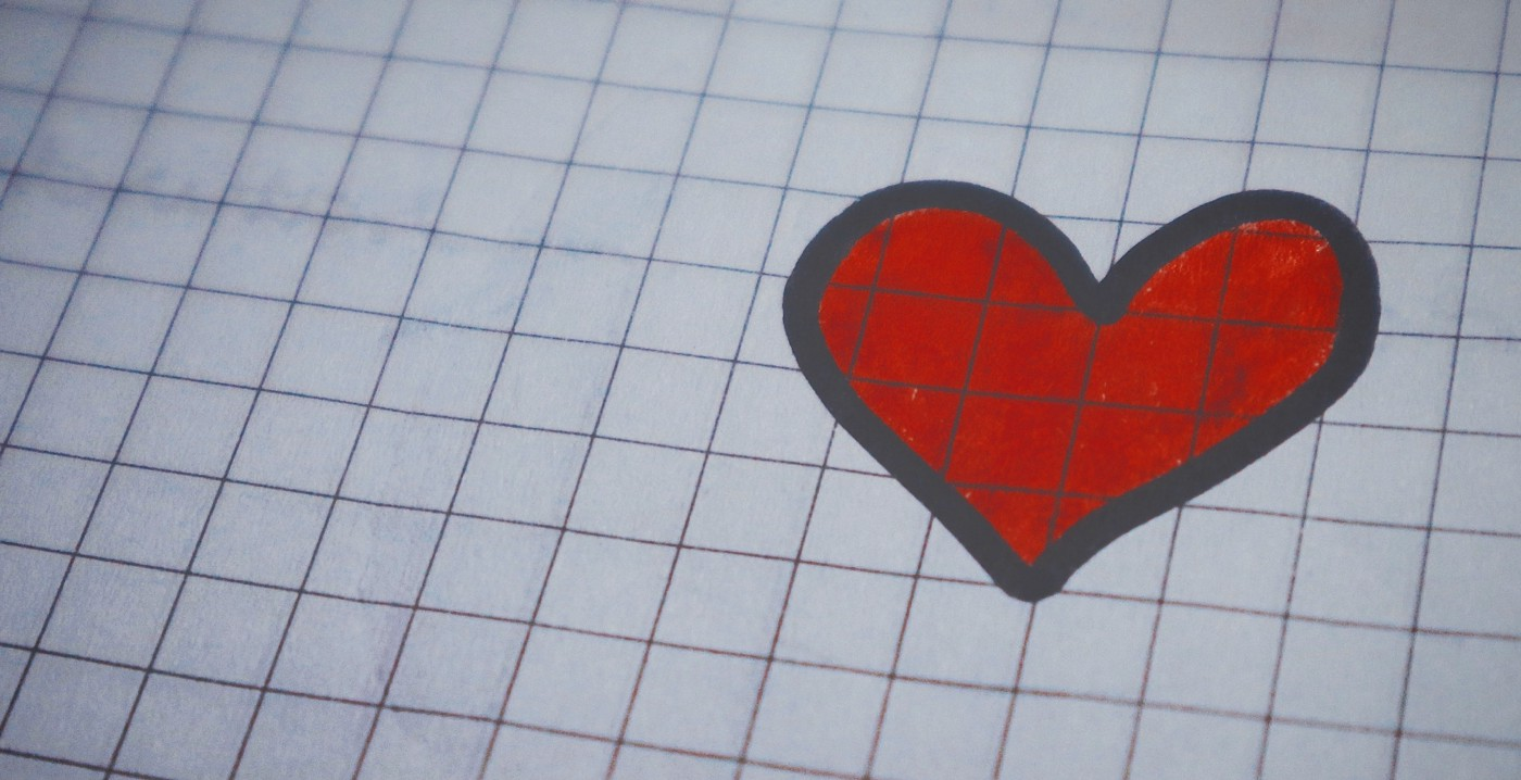 Heart drawn on graph paper