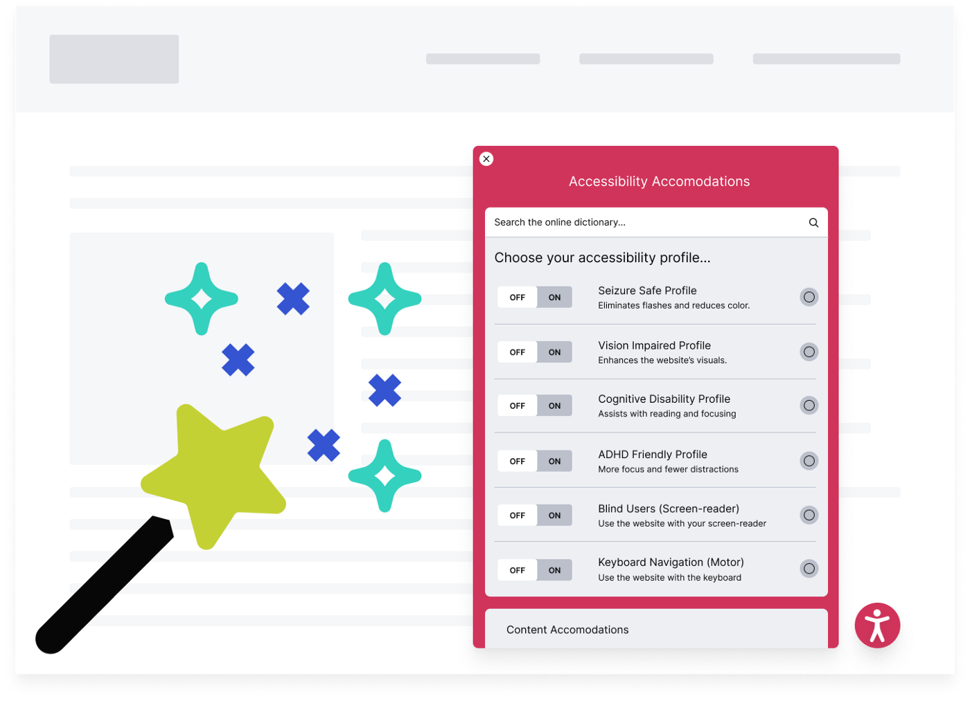 An overlay over a website showing a list of toggle options that users can turn off and on for accessibility accommodations. A wand is nearby with glitter shooting out of its star.