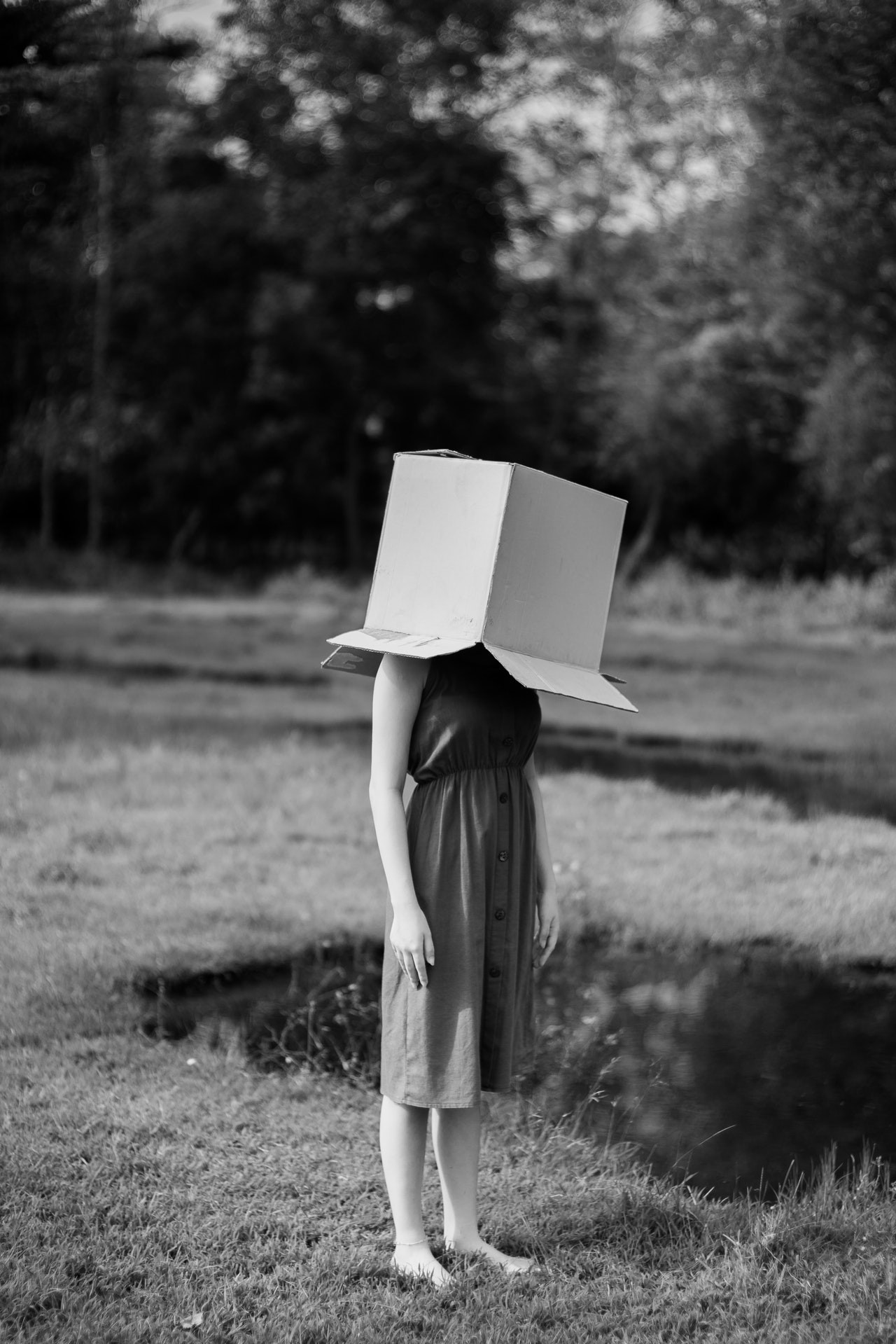 A young, barefoot woman stands alone in a grassy field with a cardboard box over her head.