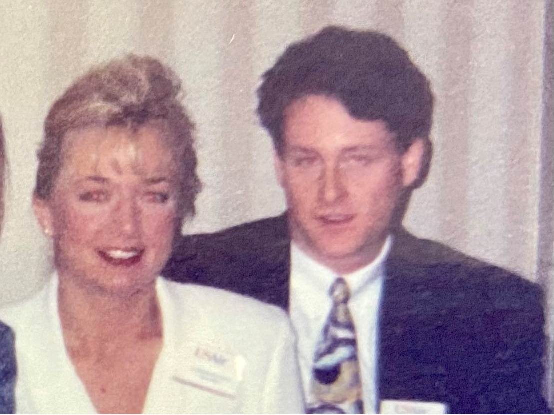 Christine Madden and Tim McCarthy during flight attendant training 25 years ago.