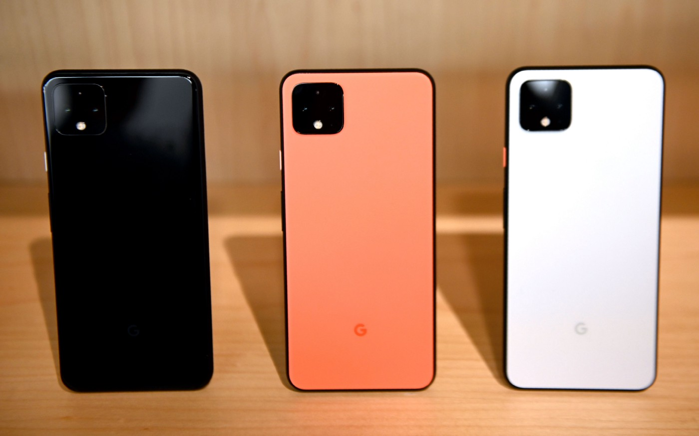 The new Google Pixel 4 phone is on display during a Google product launch event called Made by Google 19 on October 15, 2019
