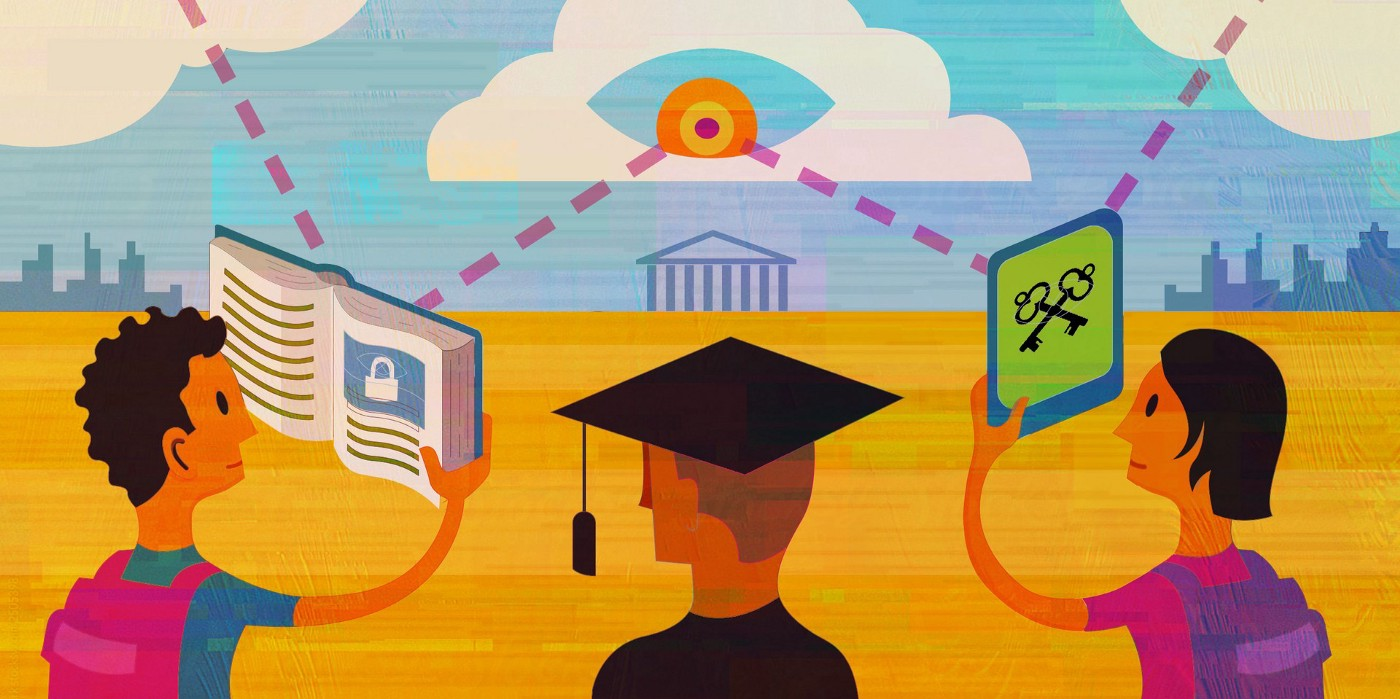 EFF's remote proctoring graphic: two young students flank a person in gown and mortarboard; they respectively hold a book and a tablet, and dotted lines join those items to a giant floating eyeball hovering over a columnated building on the horizon.