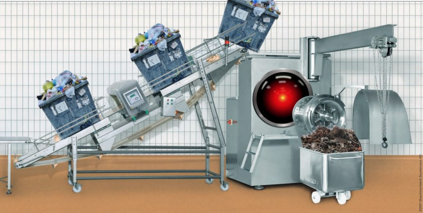 An industrial meat-grinder; on its intake belt is a procession of recycling bins heaped high with garbage; its output cone has been replaced with the glowing eye of HAL 9000, and it empties into a giant wheeled hopper full of ground-up trash. Image: Seydelmann (modified) https://commons.wikimedia.org/wiki/File:GW300_1.jpg CC BY-SA: https://creativecommons.org/licenses/by-sa/3.0/deed.en Cryteria (modified) https://commons.wikimedia.org/wiki/File:HAL9000.svg CC BY: https://creativecommons.org