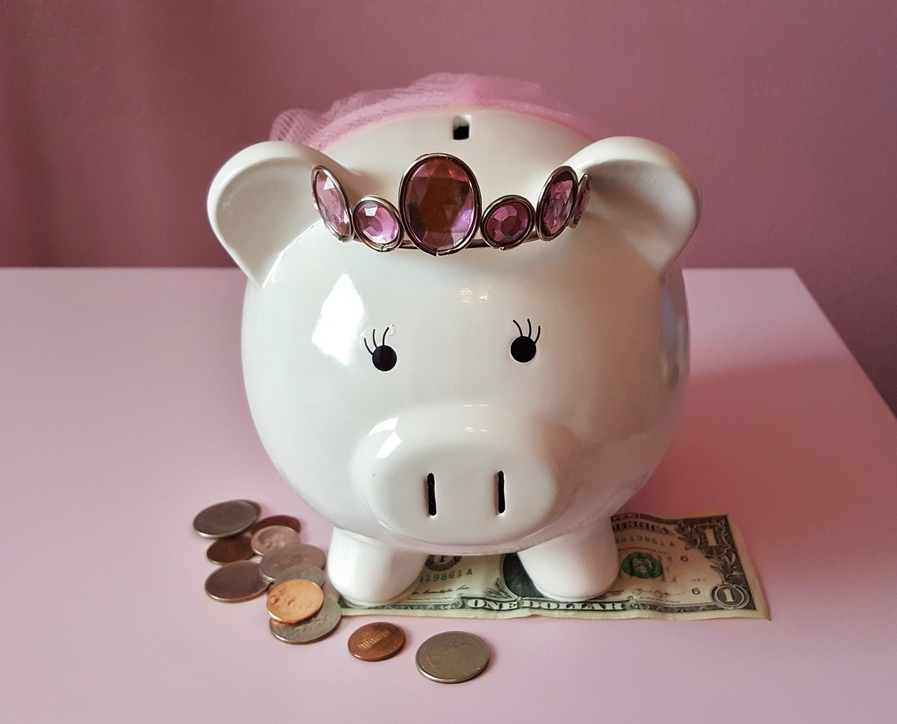 a piggy bank wearing a tiara and a tutu standing above small denominations of US currency