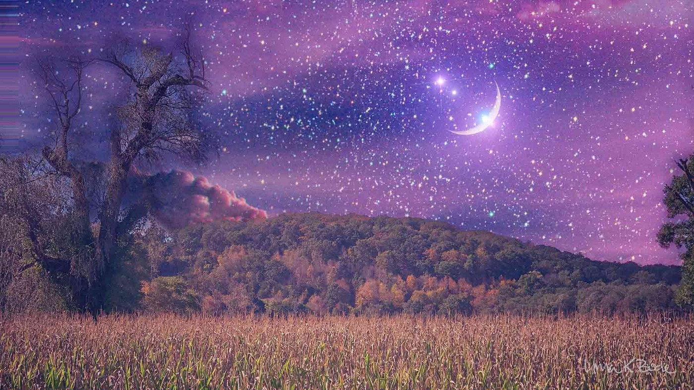 bright stars and crescent moon over a field and hills