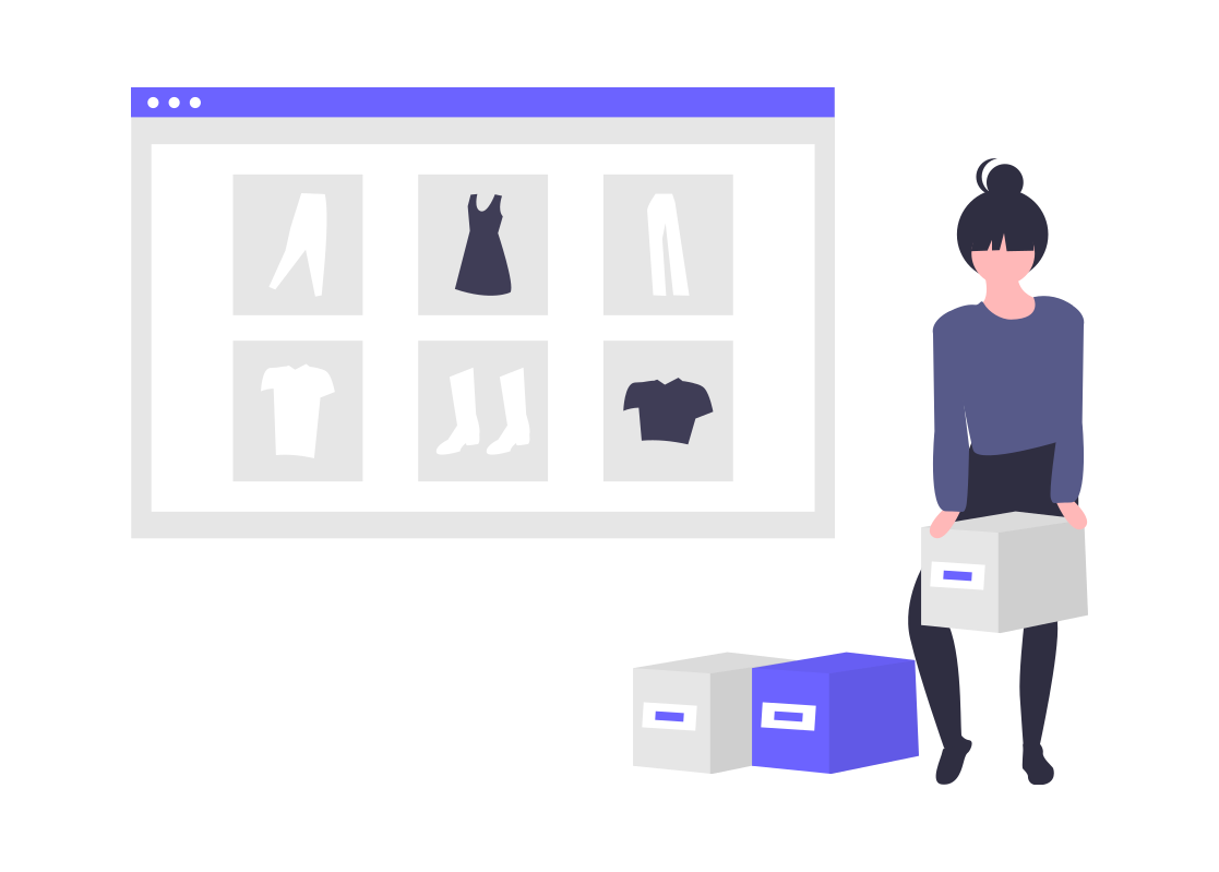 A digital illustration of a woman buying items online.