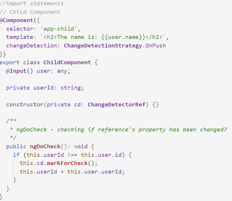 Child Component implemented ngDoCheck()