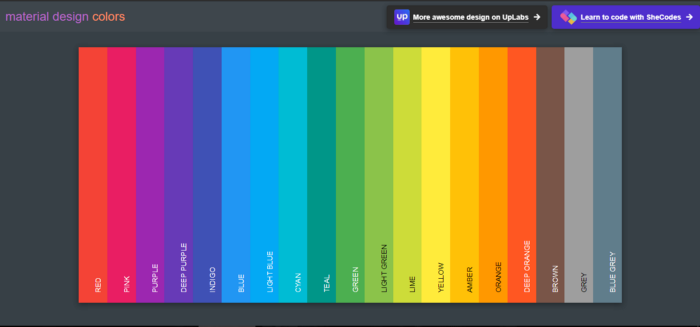 colors collection according to the material design