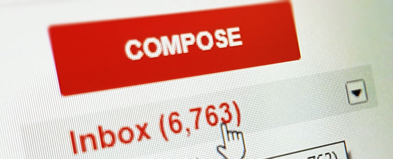 Gmail UI with Compose button and Inbox with 6,763 unread.