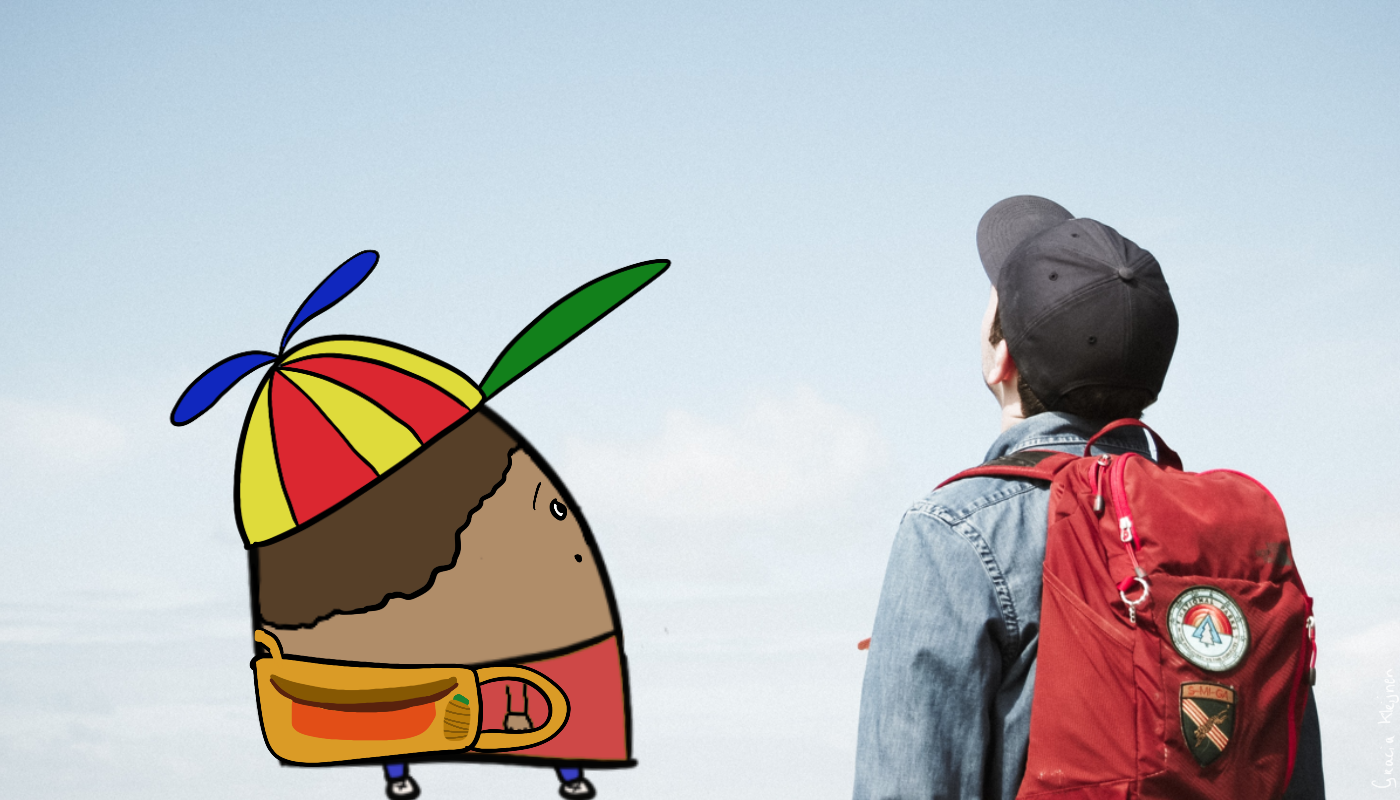 On the left: a, illustrated blob character wearing a red shirt, blue jeans, sneakers, a yellow backpack, and a clumsy propellor trucker cap. On the right: a student wearing a blue trucker cap, a jeans jacket, and red backpack. Both the blob and the student are looking upwards into the sky. The entire background is sky blue.