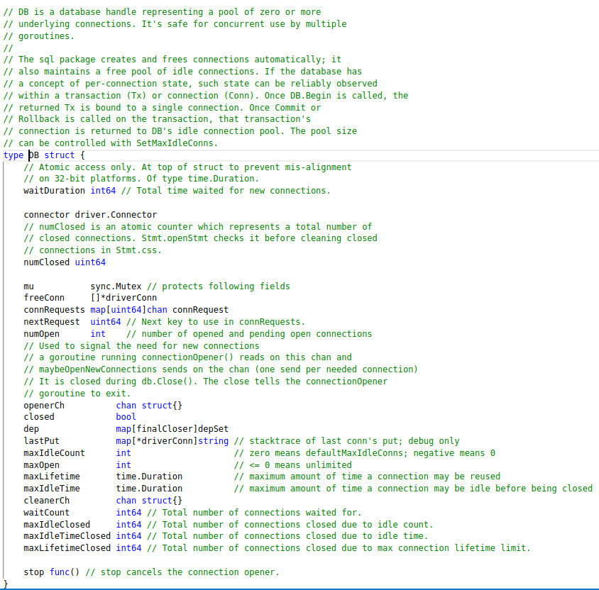 Comments on the sql.DB struct