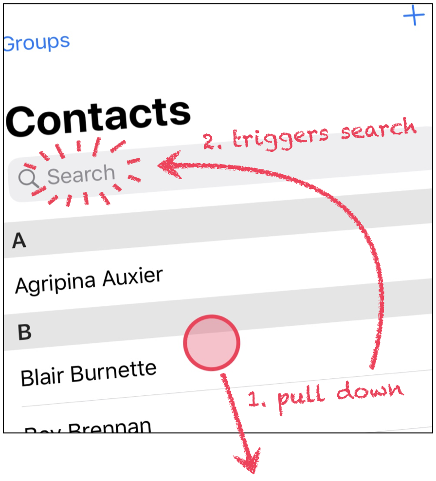 Sketch showing how pull-to-search works.