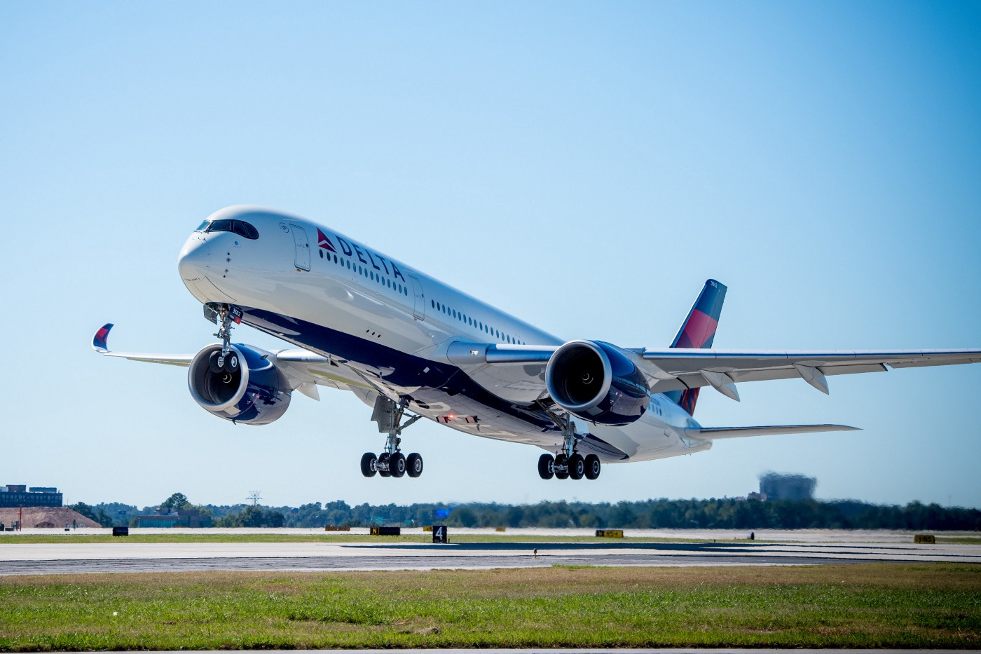 An Airbus A350–900 operated by Delta Air Lines just after takeoff